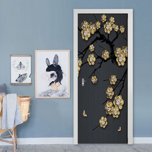 2 pieces set of 3D door stickers golden plum blossom jewelry wall mural PVC self-adhesive waterproof wallpaper decal decoration