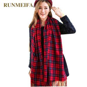 Bandanas RUNMEIFA Women's Winter Stole Plaid Scarves Tippet Wraps Brand Ladies Scarf Women Classic Neckerchief Shawls And