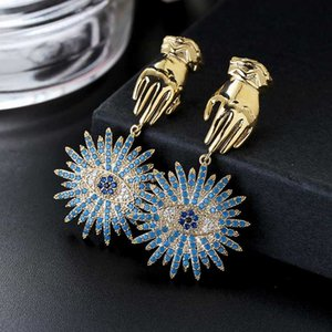 Retro Avrupa Zirkon Blue Eyes Şanslı Palmiye Sembol Küpe Ins Stil Kaplama Needle Drop Küpeler XIUMEIYIZU Yeni Moda Takı
