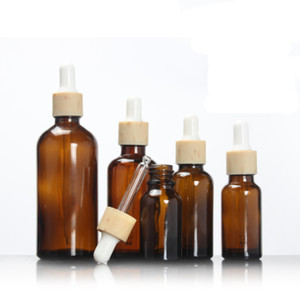 5ml 10ml 15ml 30ml brown glass bottle wooden shape dropper bottle white bulb essential oil eye liquid serum toner