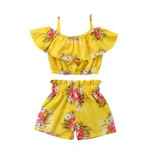 A001 del niño de la niña de la ropa amarilla floral rizado Correa Tops Chaleco Pantalones cortos Las partes inferiores de verano Trajes Playa sistema de la ropa
