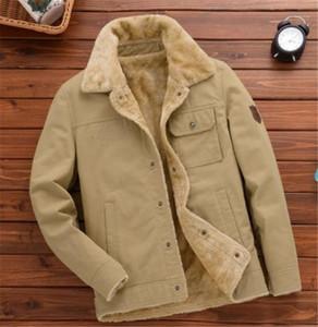 Зима Epaulet Outwear Мода Бизнес Одежда мужская Solid Color Добавить Бархатная куртка вскользь Mens отворотом шеи пальто Сыпучие