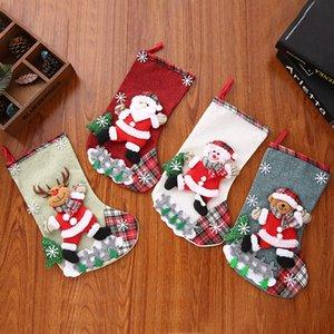 Christmas Stocking Gift Holder Classic Santa Snowman Reindeer Bear 3D Stockings Toys for Family Holiday