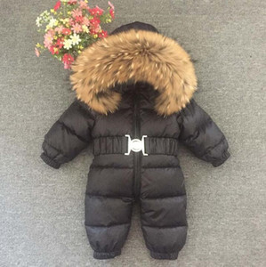 Russia Winter Baby Snowsuits kids Jumpsuit hold -25 18M-4T Boy Girls Warm natural fur Down Jacket Kids Clothes Infantil RompersSYGJ