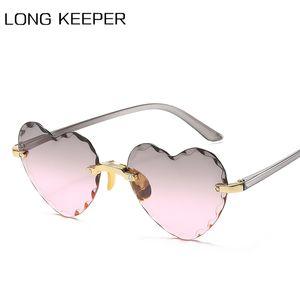 Sunglasses 2021 Heart Shaped Fashion Brand Designer Rimless Eyewear Cute Sexy Ladies Gradient Sun Glasses UV400 Party Oculos