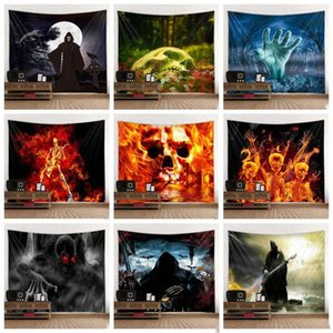 Halloween Tapestry Skull fantasma Pumpkins Wall stampa Coperta Dolcetto Treat Horror fantasma Wall Hanging da letto Soggiorno Dorm Decor DHC1499