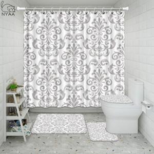 Nyaa Fabric Shower Curtain Set listrado barroco de prata Antique Preto Branco Vintage Medieval ouro Flores para decoração do banheiro