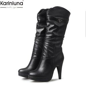 Karinluna dropship grande del tamaño 32-46 de plataformas retro botas de mujer zapatos de mujer botas de tacones altos de micro-becerro de zapatos femeninos de las mujeres 200918