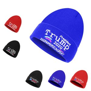 Trump Hat Keep America Great Donald Trump 2020 Knitted Embroidered Skull Beanies hats Woolen Caps Unisex Warm Winter Beanie Vote Hats D91001
