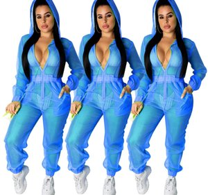 Women's Sexy Transparent Mesh Hooded Jumpsuit Erotic Clubwear Pajamas Casual Printed Dot Button Up Slim Sports Pants 209 Stand Neck99