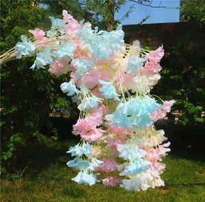 Fake Cherry Blossom Flower Rattan vine Branch Begonia Sakura Tree Stem for Event Wedding Tree Deco Artificial Decorative Flowers