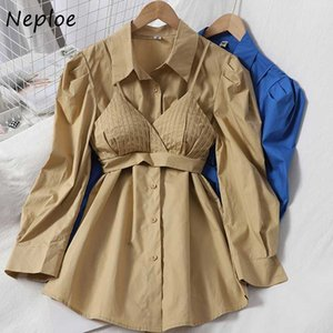 Neploe Blouse Women Solid Turn Down Collar Puff Long Sleeve Blusa Shirts Casual Single Breasted+V-neck Pleated Camis 1F655