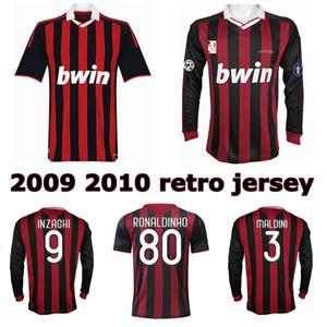 camisa de futebol clássico 2009 2010 Ronaldinho Beckham Maldini Pato camisa retro de futebol 09 10 Seedorf Inzaghi Nesta Pirlo Thiago Silva vintage