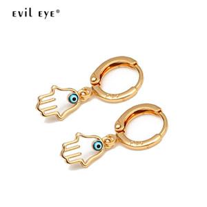 EVIL EYE شنقا مجوهرات همسة إسقاط أقراط الذهب اللون التركية العين الزرقاء استرخى أقراط أزياء للنساء EY6514 بنات السيدات