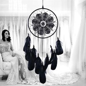 Dreamcatcher noir à la main Wind Chimes Chambre Diy Pendentif Hanging plume Perle Dream Catcher Accueil Wall Art Tentures Décorations