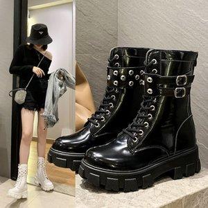 Platform Patent Leather Boots New Rivet Women Autumn Punk Motorcycle Boots Block Heel Gothic Platform Shoes Women Ankle Boots785