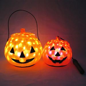 de Halloween Lanternas Crianças portátil Rotating LED estrelado abóbora Lanterna de incandescência Música Cosplay Decoração de Halloween grátis