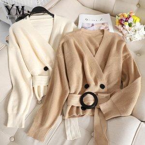 YuooMuoo Zarif Bandaj Sonbahar Hırka Triko V Yaka Kore Stil Kadınlar Hırkalar Casual Uzun Kollu Siyah Hırka Coat Y200819