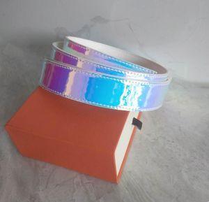 New Fashion Designer Shiny Belts Mens Womens Business Cinture Business Cintura di lusso Fibbia liscia Genuino per le donne in vita cintura con scatola