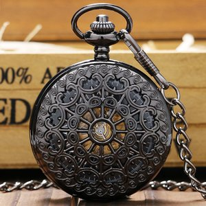 Stylish Hollow Steel Black Mechanical Pocket Watches Men Women Luxury Hand Winding Watch Pendant Clock with FOB Chain Gift Bag T200502