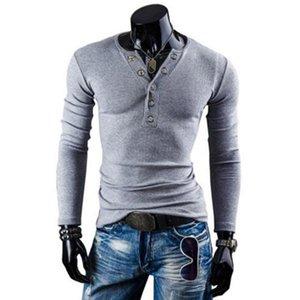 Erkek Tişörtü SICAK Sonbahar Kış Erkek Gömlek Saf Pamuk Uzun Kollu Casual V yaka Katı Renk İnce Klasik Gömlek Erkekler