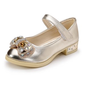 JGSHOWKITO Девушки Мягкая Кожа PU Обувь на высоком каблуке Детская обувь для девочек Bling Блестящие Rhinestone бант принцессы Для выполнения нового