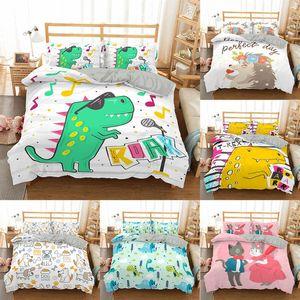ZEIMON Cartoon Dinosaur Bedding Set 100% Polyester Adult kids Gift Duvet Cover Quilt Cover Pillowcase Students Bed Linen Set