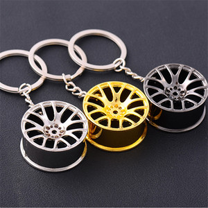 Auto Turbo Hub Keychain Wheel Rim Car Keyring Luxury Zinc Alloy Key Fob Wheel Tire Styling Car Key Chain Keyring For S141