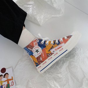 2020 new style spring and autumn students all-match cloth high top Korean graffiti canvas casual shoes