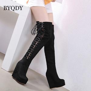 BYQDY Sonbahar Yüksek Boots Seksi Dantel Yukarı Üzeri Diz Kadınlar Boots Takozlar Topuk Ayakkabı Kadın Platformu Kauçuk Süet Botaş Mujer Boyut 35-40