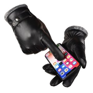 Hot Sale Mens Winter Outdoor Sports Driving Keep Warm Leather Gloves Cool Screen Touch Five Fingers Gloves