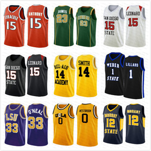 NCCA Jersey Kawhi Leonard James Iverson Men 23 Lebron Durant 13 Harden Curry Stephen College Basket Ballscall Baskeys Russell Westbrook Men12