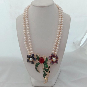 New 2strands 8-9mm white freshwater pearl micro inlay zircon buckle flower accessories necklace long 45-48cm
