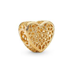 2020 Nouvelle Ale 925 Ale 925 Sterling Sterling Openwork Romance Filigree et Coeur Perlé Fit Fit Pandora Gold Bracelet pour la fabrication de bijoux DIY