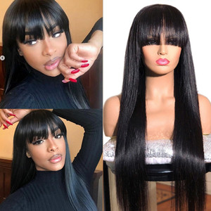 Straight Human Hair Wigs With Bangs Full Machine Made Wigs natural Wig Colored Wigs Brazilian Peruvian Malaysian Remy Hair 180% Wig 8-28inch