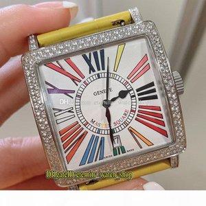 Лучшая версия New Master Square 6000 H SC CODR белый циферблат ETA A2824 Автоматическая Womens Watch Iced Out Алмазный декор ободок кожа Lady часы