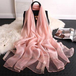 20200910 Summer silk scarf plain shawl thin Beaded Shawl Scarf