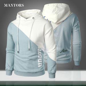 2020 New Trend Men Hoodies Casual Solid Splice Hooded Pullover Mens Hip Hop Streetwear Sweatshirt Letter Printed Women Tracksuit T200917