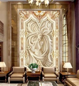 American Vintage Wall paper European embossed portrait sleeping beauty stone embossed porch background wall Murals Wallpaper