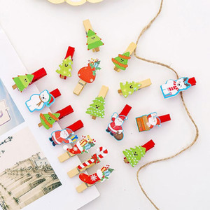 10 Ad Noel Mini Yay Ahşap Klipler Giyim Karikatür Tasarım Fotoğraf Kağıdı Peg Pim mandal Craft Klipler Parti Ev Dekorasyon