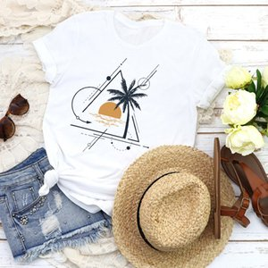 Le donne Graphic Beach Holiday Good Vibe manica corta Lady 90s Fashion Tees Stampa Top T Shirt Abbigliamento Donna Shirt Donna T-Shirt