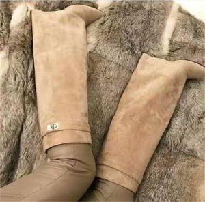 Classic Suede Womens Long Boots Argento Squalo blocco stivali alti al ginocchio Grandi Dimensioni Scarpe a punta pompa i pattini del motociclo Calzari con tacco