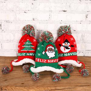 2021 Qualitäts-Kinder-Weihnachtsmützen Weihnachtsmann Kintting Hut Weihnachtsgeschenk Frohe Weihnachten Baby Trapper Doppelwärmer Hut mit Pompom