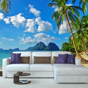 Custom 3D Photo Wallpaper HD Sea View Coconut Tree Beach Landscape 8D Mural Bedroom Living Room TV Background Wall