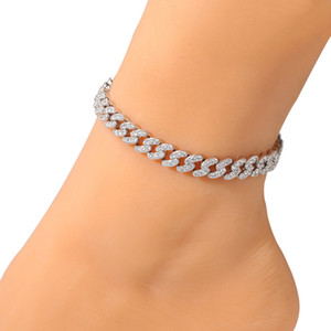 Fashion Womens Anklets Bracelet Iced Out Cuban Link Chain Anklets Bracelets Gold Silver Pink Diamond Hip Hop Anklet Jewelry