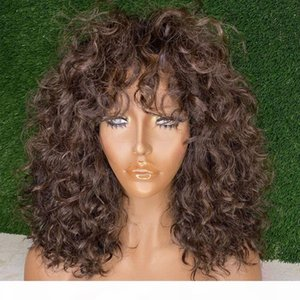 180 Density Peruvian Chocolate Brown 360 Lace Frontal Human Hair Wigs with Bangs Fringe Loose Deep Curly Glueless Full Lace Wigs