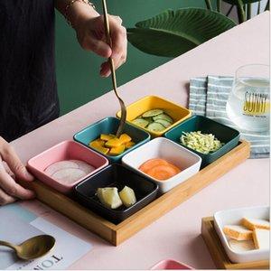 Pallet di legno Snack scomparti ciotola la casa soggiorno snack bambù ceramica frutta secca ciotola ristorante di stoccaggio condimento ciotola