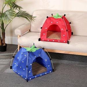 Tent morango Cat Dog Pet Waterproof Oxford pano portátil All Seasons Bed sujeira resistente macia Bed Outdoor Kennels lavável