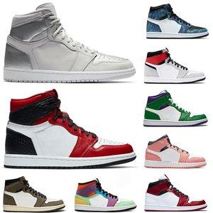 Новые Jumpman 1s 1 Mens женщин сатин черный носок Travis Скоттс Открытый Баскетбол обувь АтласныеИорданияРетро Тренеры Спортивные кроссовки