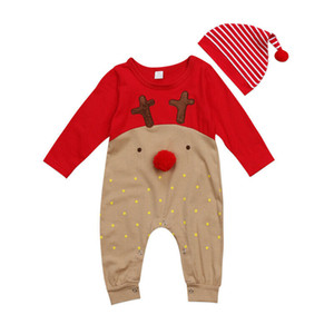 Super Cute Babies 2 PCS XMAS Romper Clothing Set Newborn Baby Boy Girl Christmas Rompers Striped Hats Jumpsuit Outfits Clothes
